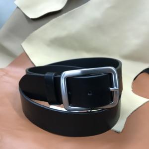 Ceinture cuir noir sport doublé cuir