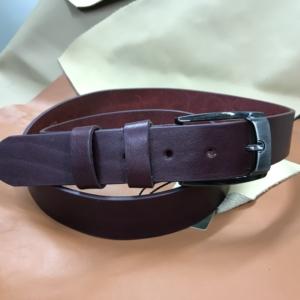Ceinture cuir bordeau doublé cuir