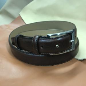Ceinture cuir marron foncé doublé cuir